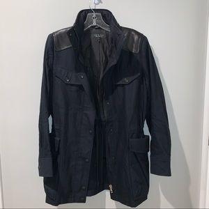 Rag-Bone Black Leather Cotton Utility Jacket Sm